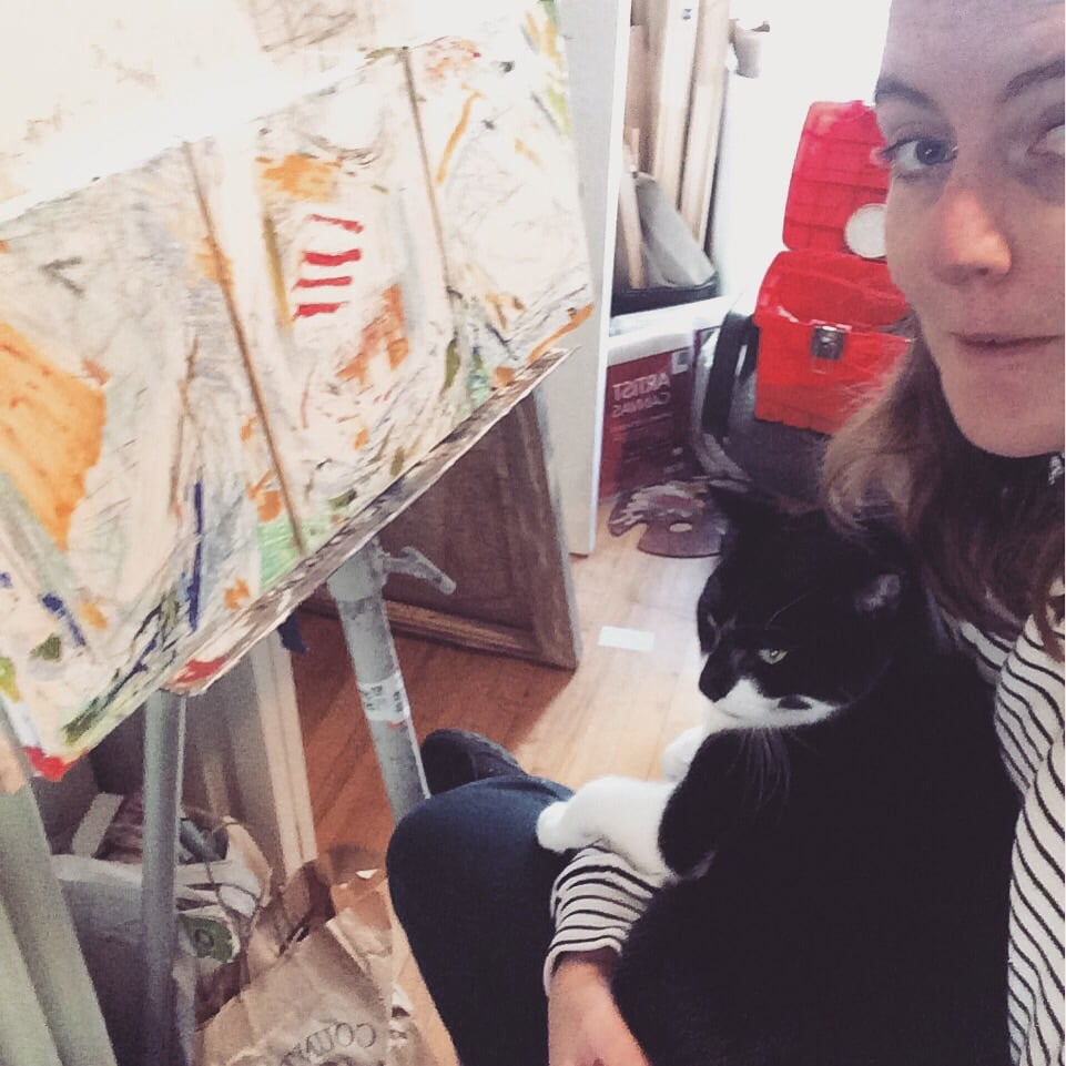 Critiquing with my studio buddy, Miles, after the first few passes of oil paint.