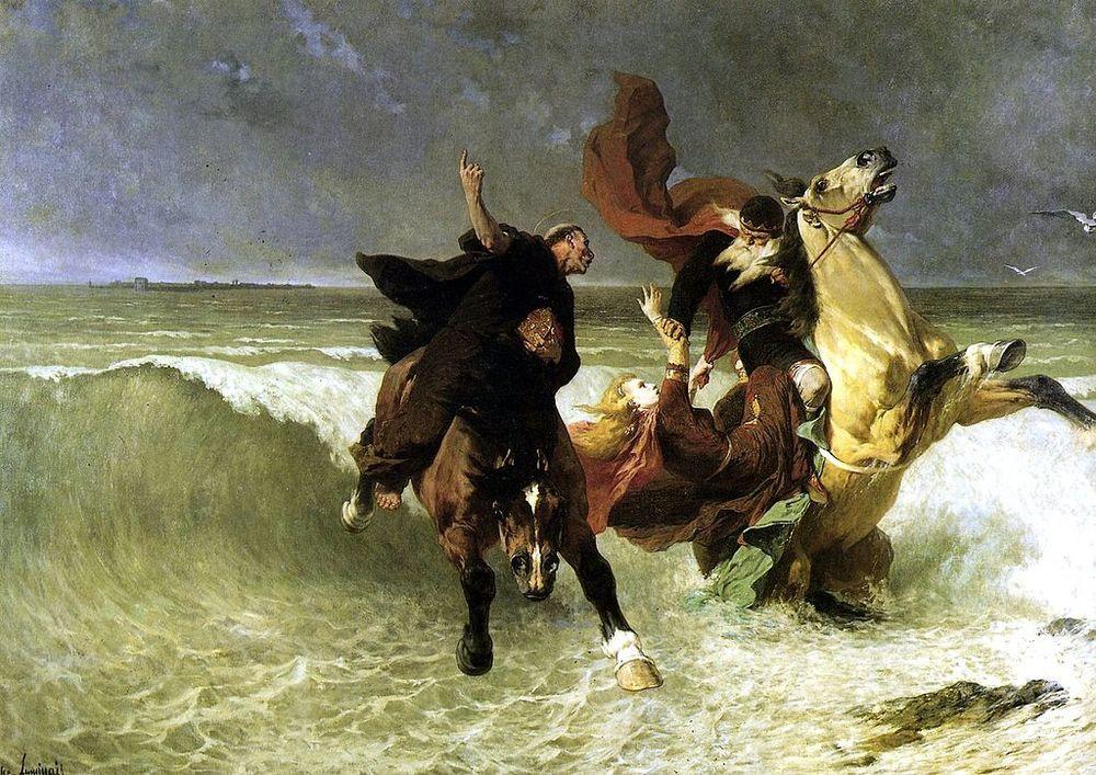 Évariste Vital Luminais,   La Fuite de Roi Gradlon  (1884). King Gradlon of Ys tries to save his daughter Dahut as the waters drown the city.