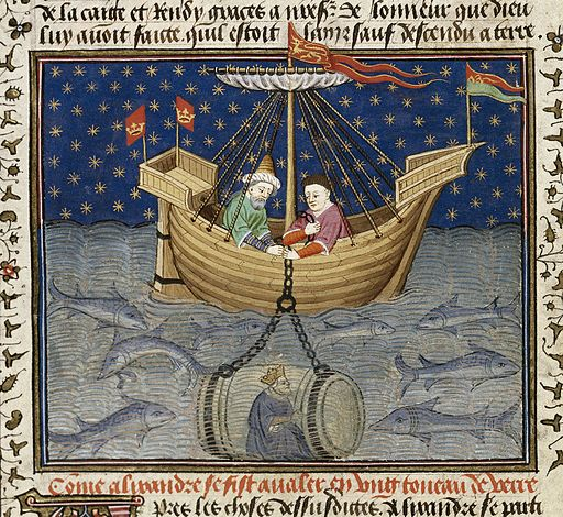 "Alexander explores the sea in a submarine; detail of a miniature from BL Royal MS 15 E vi, f. 20v (the ""Talbot Shrewsbury Book"")."