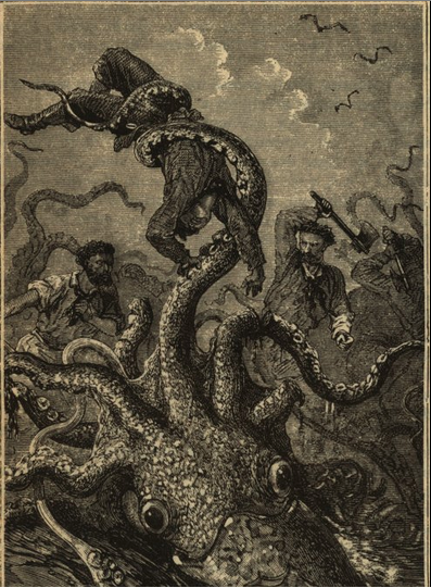 R elease the kraken!  An  illustration  from the original 1870 edition of  Twenty Thousand Leagues Under the Sea  by author Jules Verne. Public Domain.