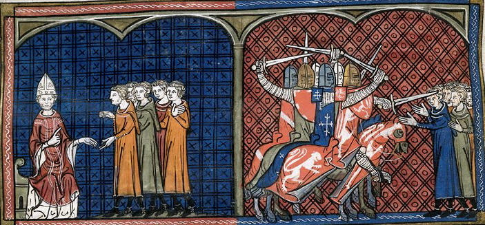 Pope Innocent III excommunicating the Cathars; the crusade.  From  Chroniques de France ou de St Denis  (1332-1350),  BL Royal 16 G VI f. 374v.  What, you thought Ted was going to pass up an opportunity to post some medieval art?