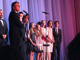 Kazuo Ishiguro with the cast of the film adaptation of Never Let Me Go.  Photo by Bex Walton (2010).