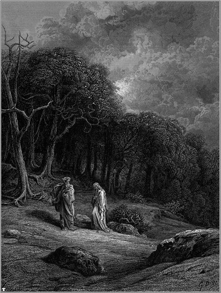 """Promise, princess, you'll not forget what you feel in your heart for me at this moment."" Illustration by Gustave Doré, from Tennyson's Idylls of the King, 1868."