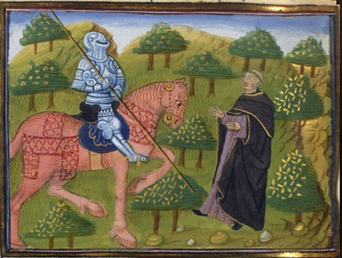 My armor tarnished? By the blood of innocents? What do you know, priest? Were you there?   Gawain and the Priest , c. 15th century.