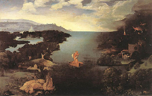 Sometimes a boatman offering to take you to a magical island is just a boatman offering to take you to a magical island. Other times, the boatman is Charon. Painting by Joachim Patinir, early 16th century. Collection of the Prado Museum.