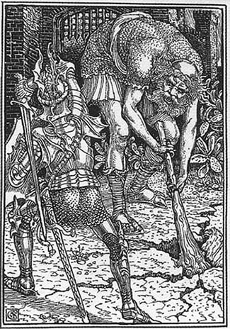 King Arthur and the Giant. Engraving by Walter Crane.