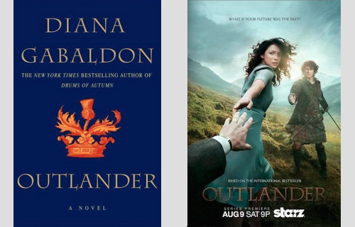 Original Outlander Cover by  Diana Gabaldon  and promotional poster for  Starz television series .