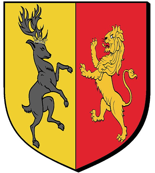 A coat of arms uniting Houses Baratheon and Lannister.  Image by Alexcervero, March 2012.  Copyright.