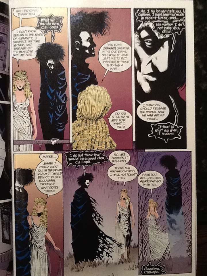"Morpheus rescues Calliope from the clutches of a writer bereft of ideas who keeps her as his personal muse. The kinder, gentler Morpheus, rebounding from his own captivity, did not approve. ""Calliope"" written by Neil Gaiman, illustrated by Kelley Jones and Maclom Jones III.Copyright DC Comics 1990."