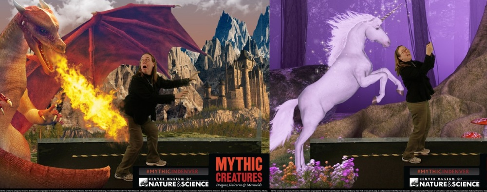Fiction Unbound's own C.S. Peterson fends off an angry dragon hungry for barbecue and takes a selfie with a magical unicorn at the Denver Museum of Nature & Science's Mythic Creatures exhibit.