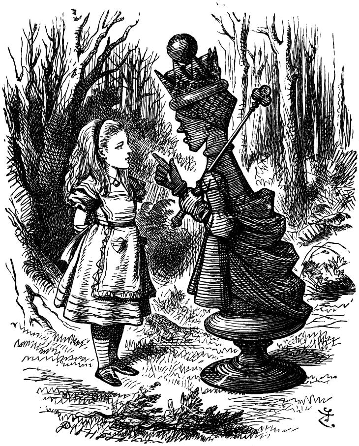 Alice and that other Red Queen. Illustration by John Tenniel [Public domain], via Wikimedia Commons