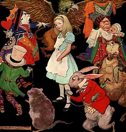 """Who am I, then? Tell me that first, and then, if I like being that person, I'll come up: if not, I'll stay down here till I'm somebody else."" – Alice in Wonderland. Illustration by Jessie Willcox Smith"