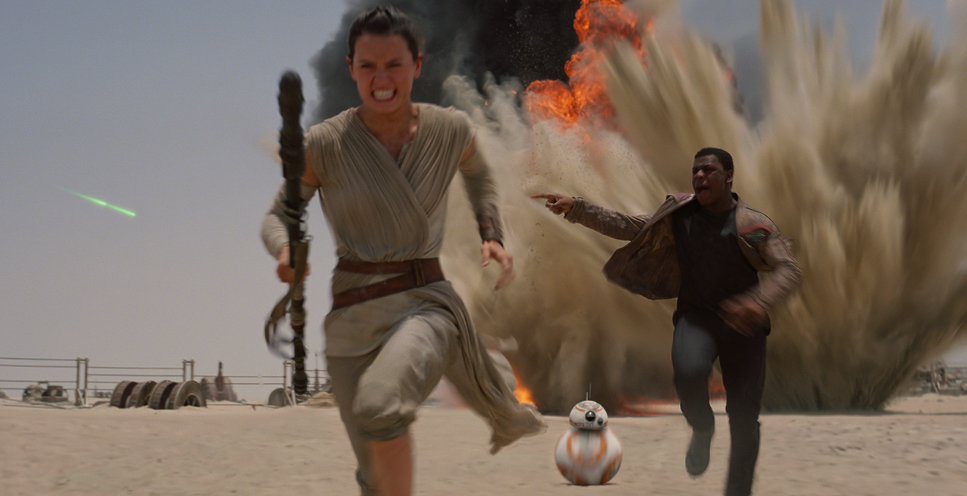 Ren, Finn and BB-8 running for their lives.