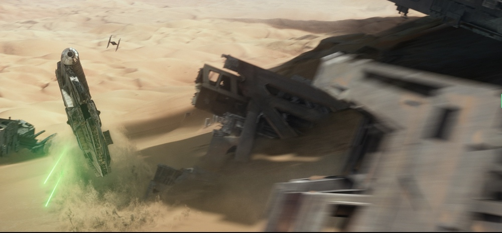 The Millennium Falcon rises from the dustbin of the galaxy.