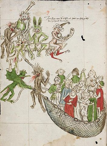 Des Teufels Netz  , the Devil's Net, from the Codex Donaueschingen (1441), shows fiends after everyone, from pope to farmer.