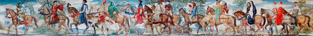 Canterbury tales mural    by Ezra Winter. North Reading Room, west wall, Library of Congress John Adams Building, Washington, D.C. The artist is Ezra Winter (1886–1949). Photographed 2007 by Carol Highsmith (1946–), who explicitly    placed    the photograph in the public domain.