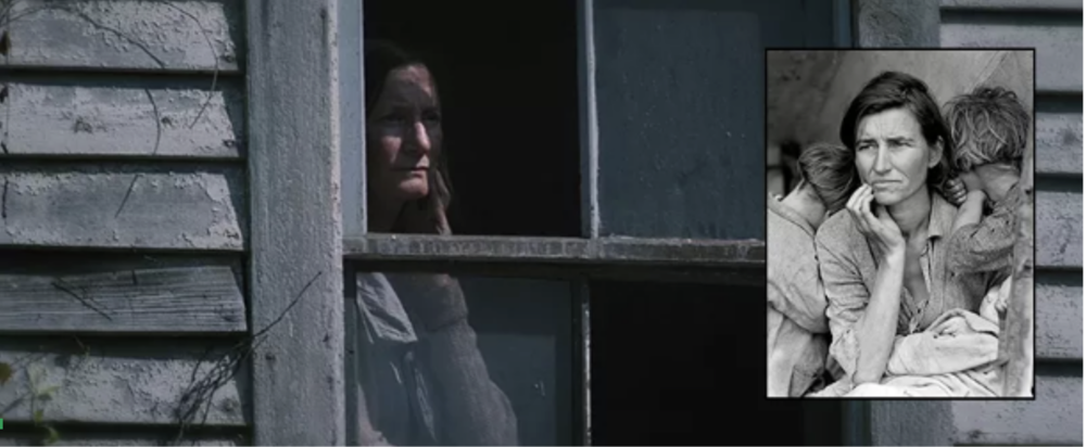 Dorthea Lange's  Migrant Mother  over a still from  The Hunger Games
