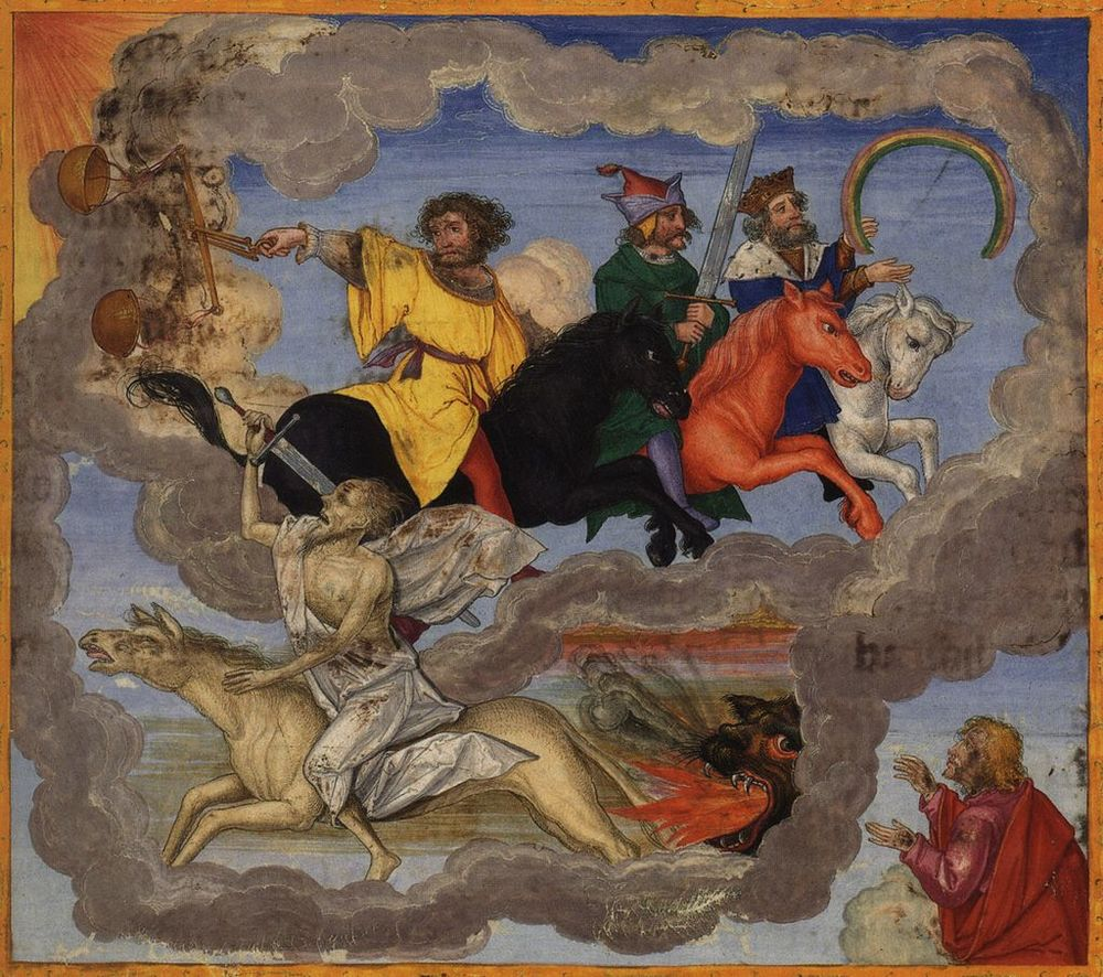 Honestly, this doesn't look so bad these days. The Four Riders of the Apocalypse, from the Ottheinrich Bible (c. 1530-32).