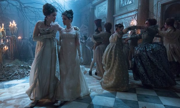 Caught in a dream, Lady Pole (Alice Englert) and Arabella Strange (Charlotte Riley) dance at a ball in the Faerie kingdom of Lost-Hope.