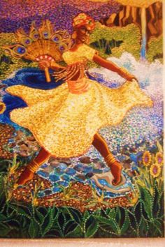 Yoruba deity Oshun who walks on water and carries a peacock fan.