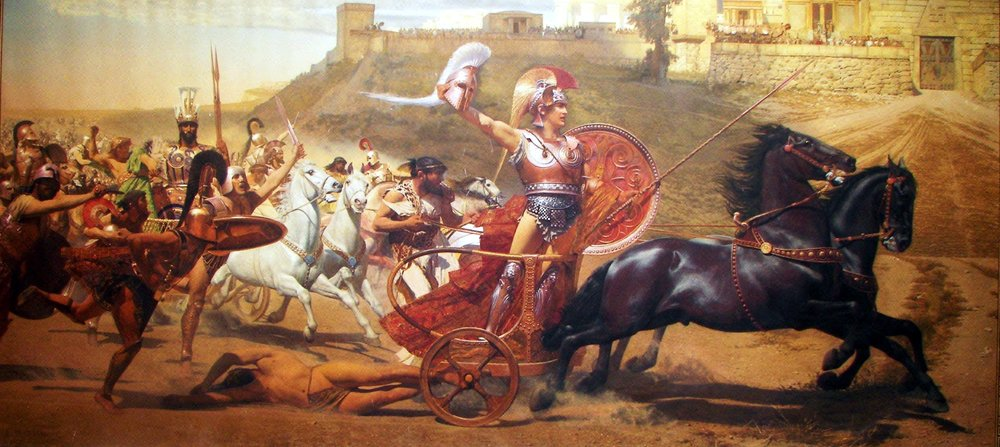 The larger-than-life heroes of classical epics are often depicted seeking martial glory and violent retribution against their enemies. Here, Greek hero Achilles desecrates the body of Trojan hero Hector. Advice to aspiring heroes of the modern age: Sometimes you have to fight for what's right, but don't be like those guys.