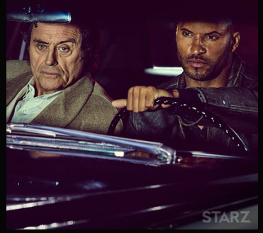 Let the road trip begin! Ian McShane as a glorious Mr. Wednesday (Odin) and Ricky Whittle as Shadow Moon.