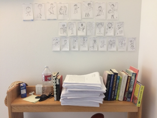 My Clarion dorm bookshelf: cartooning, story crits, faculty books and inspirations, antacids.