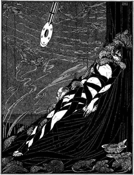 The Pit and the Pendulum by Edgar Allan Poe, drawing by Clarke.
