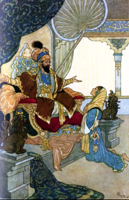 """The Sultan and Scheherazade from """" The Arabian Nights Entertainments """" by Andrew Lang. Illustration by Rene Bull."""