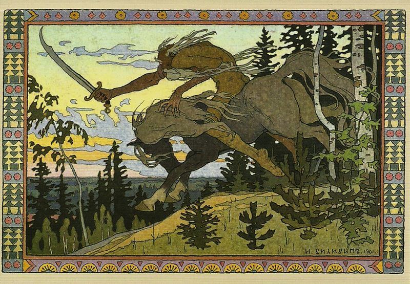 Koshchey the Deathless , the only one who can give Baba Yaba a scar.  Ivan Bilibin from 1902 .