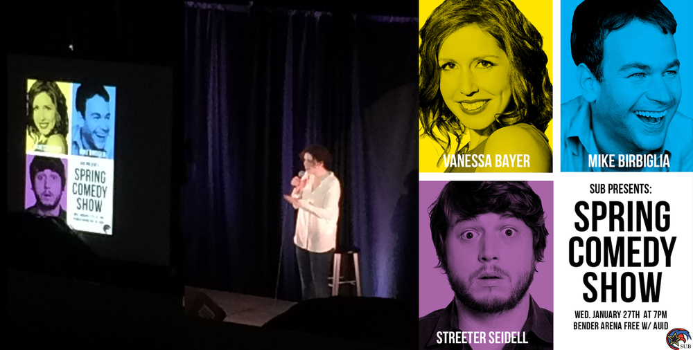 Comedienne Vanessa Bayer next to screen ft. poster design