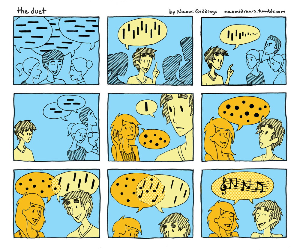 A wordless comic about making new friends.