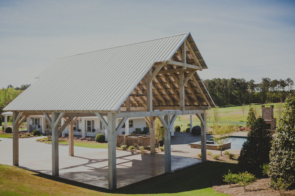 stained eastern white pine carport hand crafted timber frame oconee county georgia