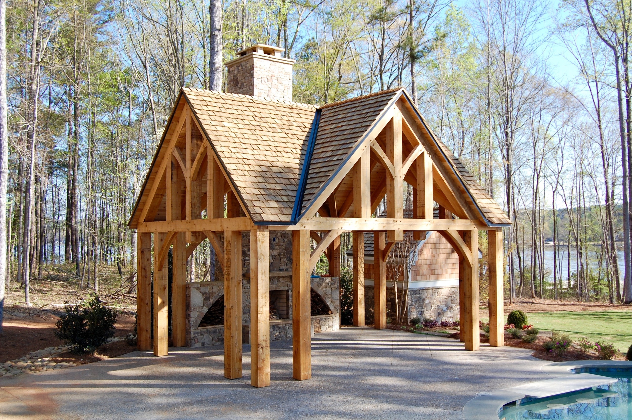 hand crafted western red cedar pool house timber frame lake oconee georgia