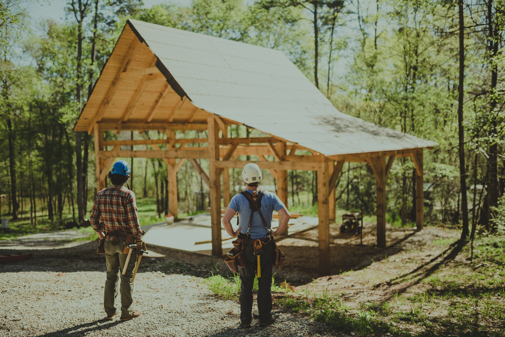 surveying hand crafted eastern white pine timber frame workshop athens georgia