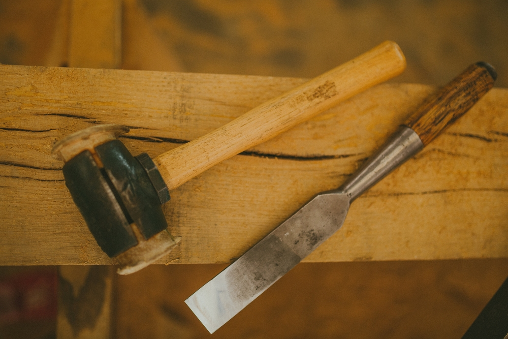 hand crafted oak timber frame hand tools