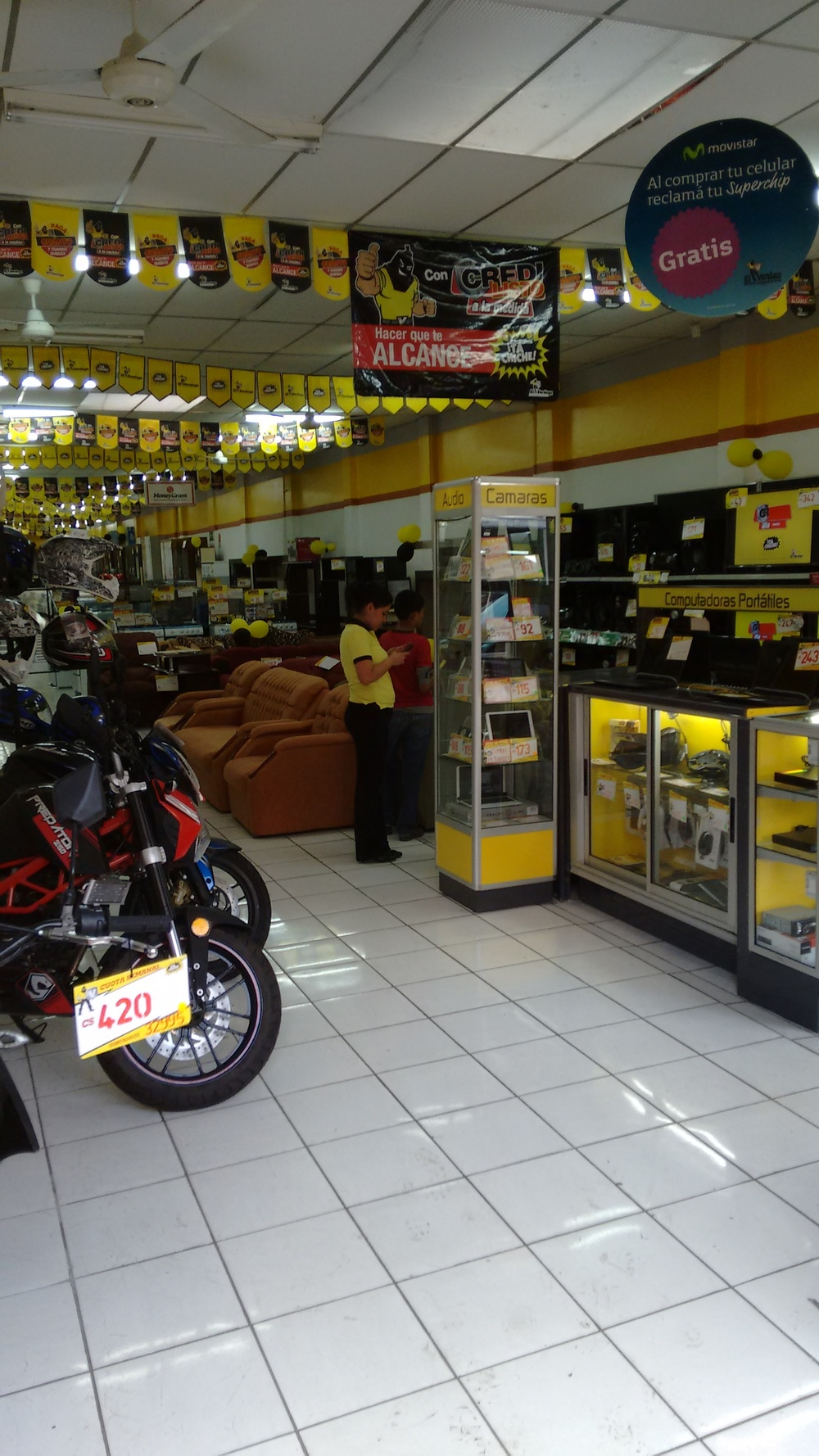 El Verdugo. You can buy everything in this store on credit. Note that the cost of the motorcycle is not C$420 (about $15)-- that's the weekly installment payment.