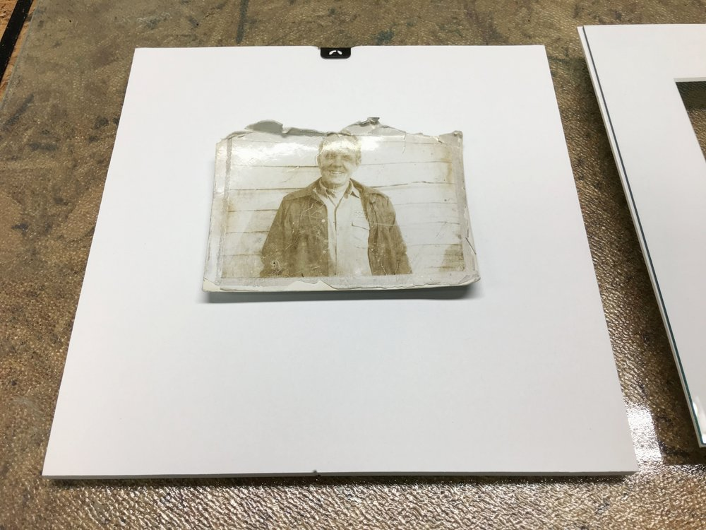 The Polaroid was carefully attached to a small piece of foam core.