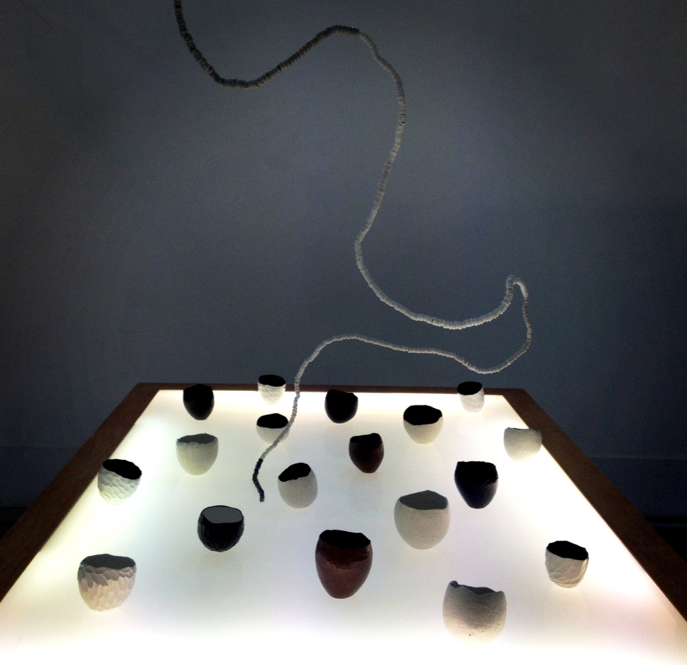 The Coconut Revolution,  porcelain, stoneware, glaze, wood, acrylic, lightbox, 120cm x 180cm, 2004-14 , photo by Taloi Havini