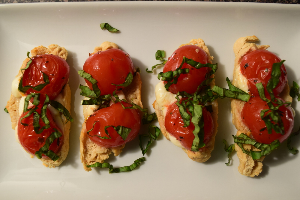 Caprese Toasts - Roasted Cherry Tomatoes, Fresh Mozzarella & Basil