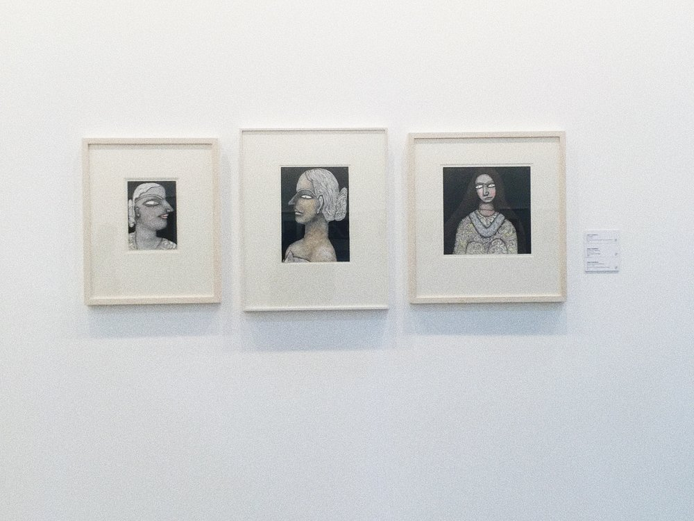 L-R: Kamalakshi  (2018) , Portrait of a Woman  (2006) , Woman with Silver Necklace  (2014) by Jogen Chowdhury and Sanchit Art Booth, India Art Fair 2018