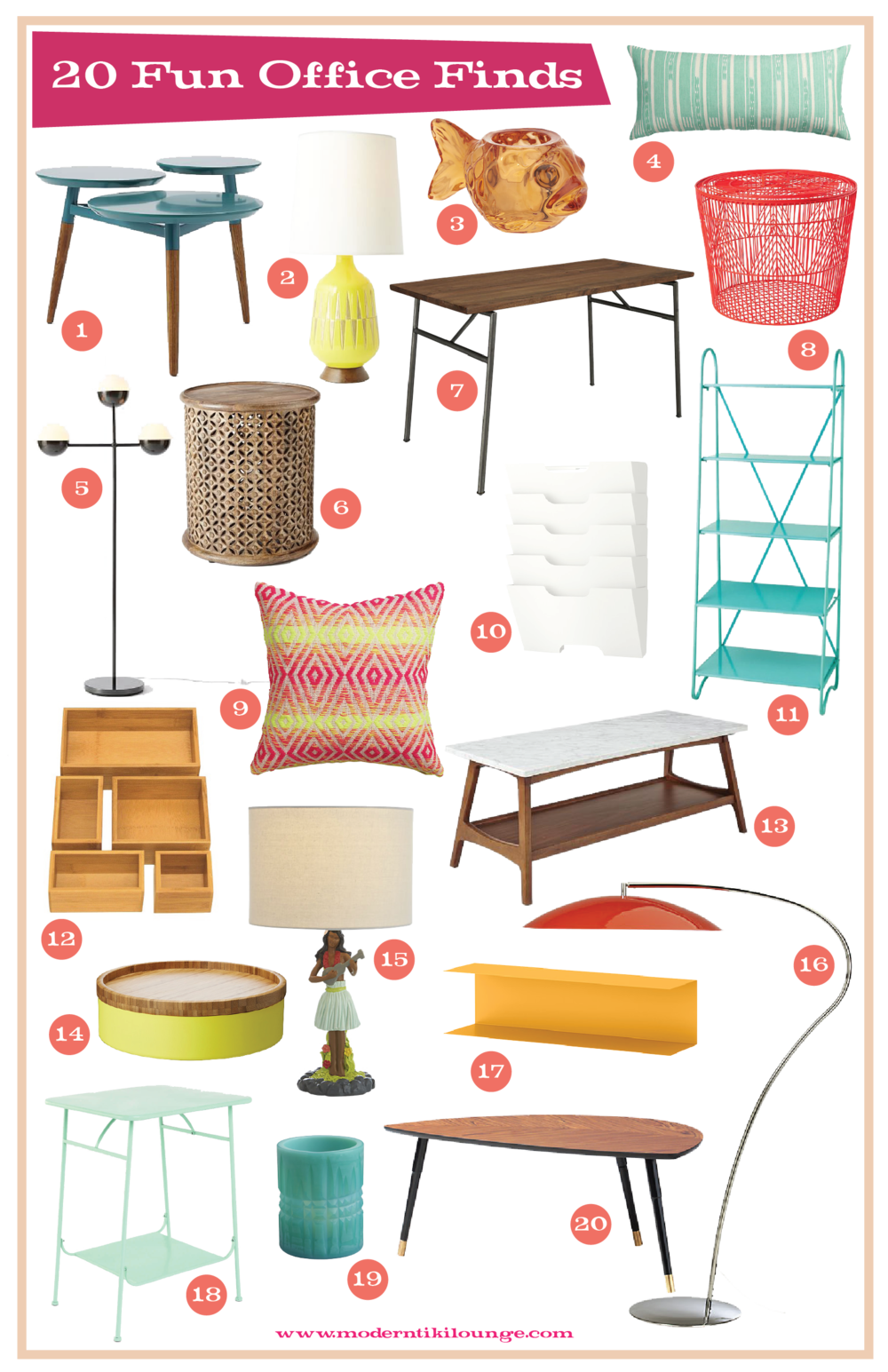 1.  clover coffee table  | 2.  MID-CENTURY TABLE LAMP - bottle  | 3.  FIN CANDLE HOLDER  | 4.  IKAT AQUA PILLOW  | 5.  kate spade saturday globe lamp  | 6.  carved wood side table  | 7.  Lecture desk  | 8.  good vibe floor bin  | 9.  neon prism knit pillow  | 10.  kvissle wall magazine rack  | 11.  fifth floor shelf  | 12.  seville bamboo organizer boxes  | 13.  reeve mid-century rectangular coffee table  | 14.  valkand bowl and dish  | 15.  hula lamp  | 16.  atomic arc floor lamp  | 17.  botkyrka wall shelf  | 18.  factory side table  | 19.  hoth candle holder  | 20.  lovbacken coffee table