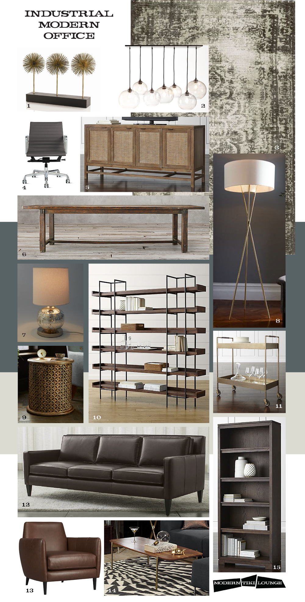 1. ATLANTIS IRON SCULPTURE 2. GLASS ORB CHANDELIER 3. DISTRESSED ARABESQUE WOOL RUG 4. EAMES ALUMINUM GROUP MANAGEMENT CHAIR 5. BLAKE MEDIA CONSOLE 6. 17th c. spanish monastery dining table 7. mini abacus table lamp 8. mid-century tripod floor lamp 9. carved wood side table 10. beckett 6-high shelf 11. libations bar cart 12. rochelle leather sofa 13. parlour leather chair 14. adam coffee table 15. wells bookcase