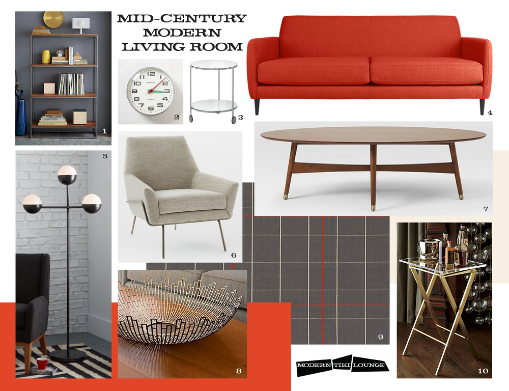 1. framework bookcase 2. Newgate wall clock - brixton 3. strind side table 4. parlour sofa 5. globe floor lamp 6. lucas wire base chair 7. reeve mid-century oval coffee table 8. starburst bowl 9. saic origin flatweave rug 10. novo acrylic folding table