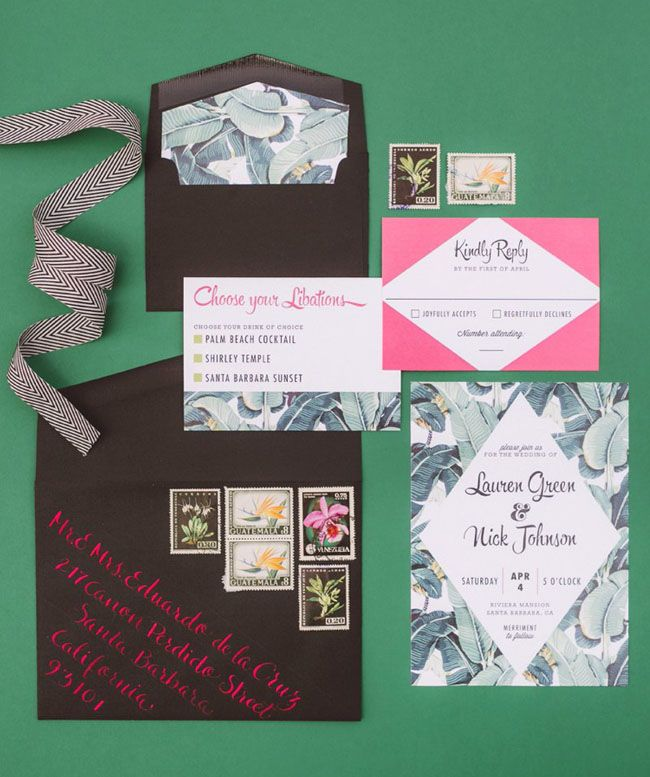 Via greenweddingshoes.com. Invitations by Black Lab Studio. Photo by Anna Delores Photography.