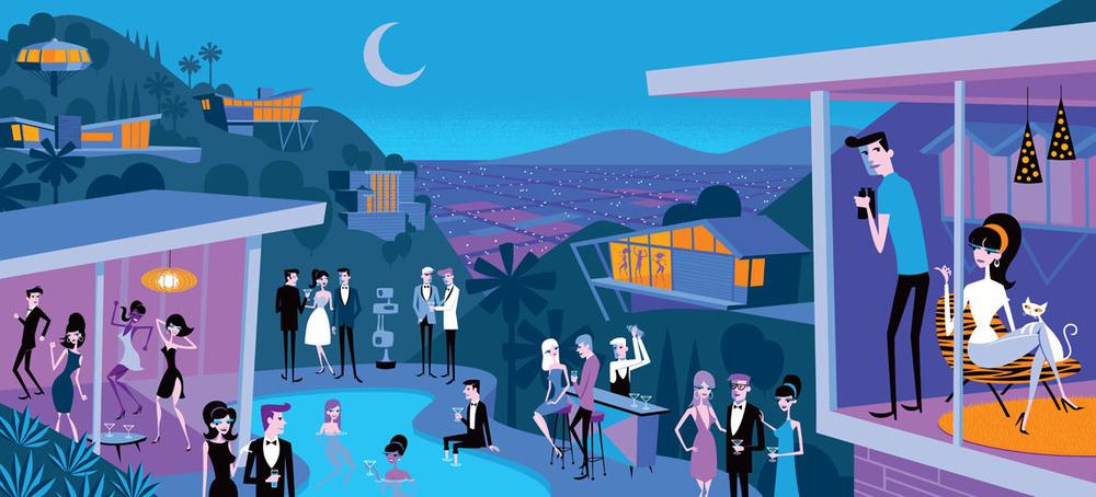 Art: 995 skyline drive by josh agle; image via  shagthestore.com