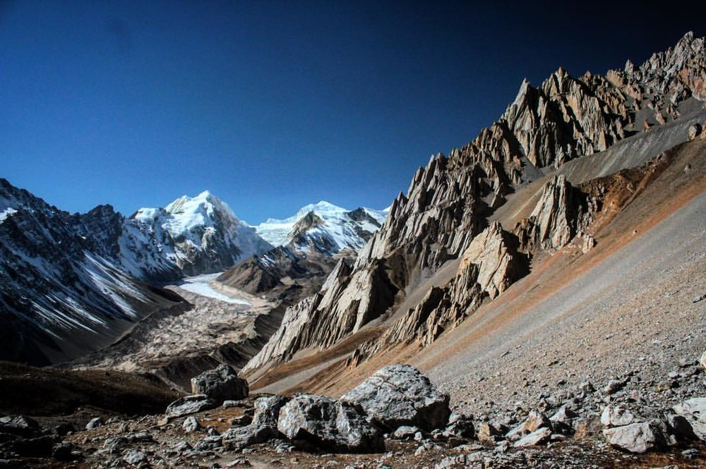 At zero-oxygen altitude, a view probably worth my textured, egg-yolk nose bleeds... — at  Manaslu Circuit Trek .