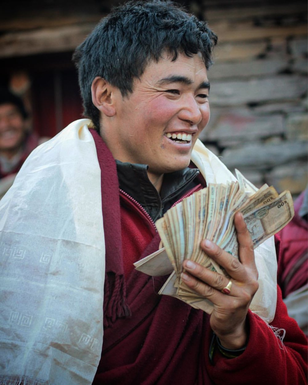 Wins big at the yak tracks and now he's a buddhist baller! — at  Manaslu Circuit Trek .