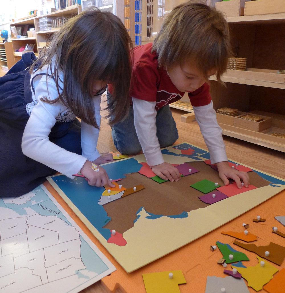 Kids learning in Ms. Lams Montessori Elementary School Williamsburg Brooklyn.