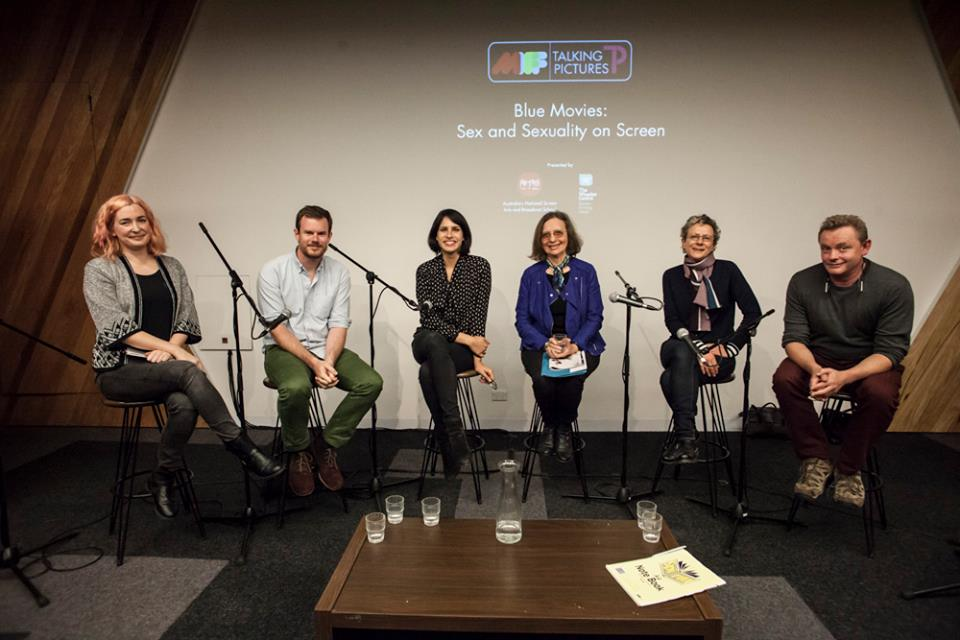 with Joe Swanberg, Desiree Akhavan, Barbara Creed, Ana Kokkinos and Stephan Elliott at the MIFF/Talking Pictures Blue Movies panel, 2014; Photo by  Francine Schaepper